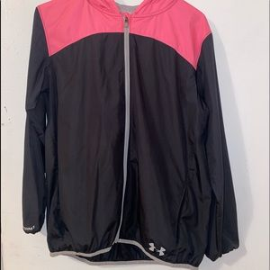 Under armour pink and black girls rain jacket